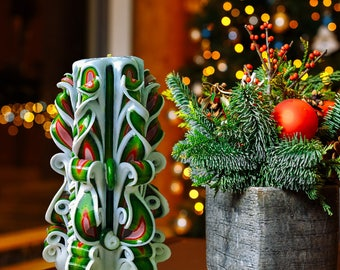 Christmas candles - gift for woman - gift idea for her - carved candles red green - hand candle gift Decorative candles Christmas decoration