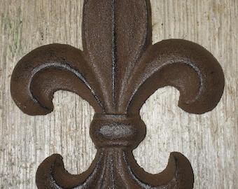 """Cast Iron Antique Style Rustic Fleur De Lis Wall Decor Boy Scouts 7"""" Saints"""