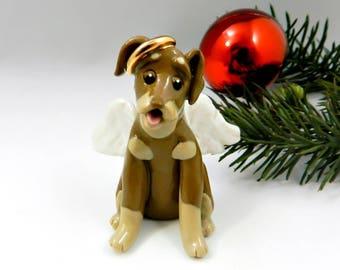 Min Pin Doberman Pinscher Brown Tan Angel Christmas Ornament Porcelain Clay Figurine