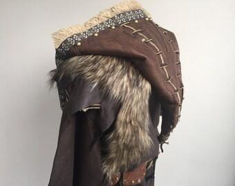 Ornate Faux Leather Hood