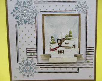 Card 3D (relief) snowy landscape and many stickers silver and blue
