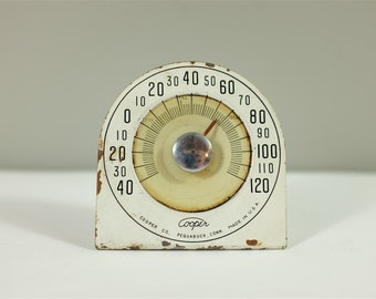 Room Thermometer, Cooper Thermometer Pequabuck made in USA - Metal white vintage thermometer by Cooper - Vintage Cooper thermometer