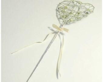 Ivory Heart Bridesmaid Wand  Bridesmaid Wand 40cm