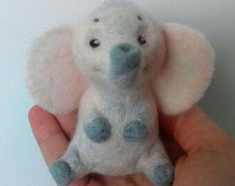 Handmade Little Elephant Needle Felted Wool Toy OOAK