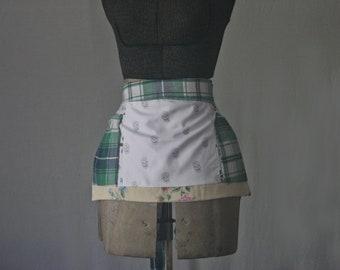 Apron - Three Pocket Apron, Green Plaid, Apron with Skulls, Floral Apron, Tie Waist Apron, Patchwork Apron, Reclaimed Fabric, Zero Waste