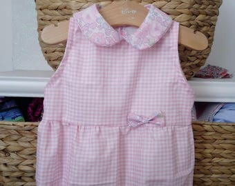 romper 3 6 12 18 24 month cotton white collar girl gingham Peter Pan round liberty betsy blotter