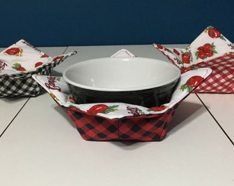 Tomato Soup Bowl Cozies in gingham