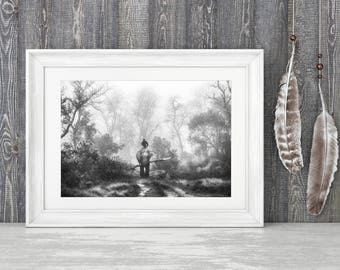 Out of the Mist - Fine Art Print - Black and White Photography - Travel - Nepal - Nonprofit