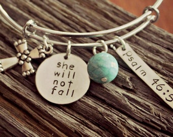 Bible Verse Bangle Bracelet, She Will Not Fall, Psalm 46 5, Christian Theme Bangle, God Is Within Her