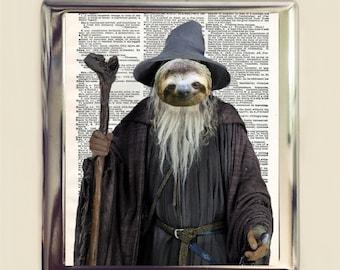 Sloth Wizard Cigarette Case Business Card ID Holder Wallet Kawaii Pop Animal Art Whimsical Anthropomorphic Fantasy