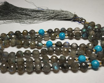 108 Cut Round Natural Faceted Green Rutile Beads Strand 7.5MM Hand Knotted Necklace Meditation Prayer Yoga Mala