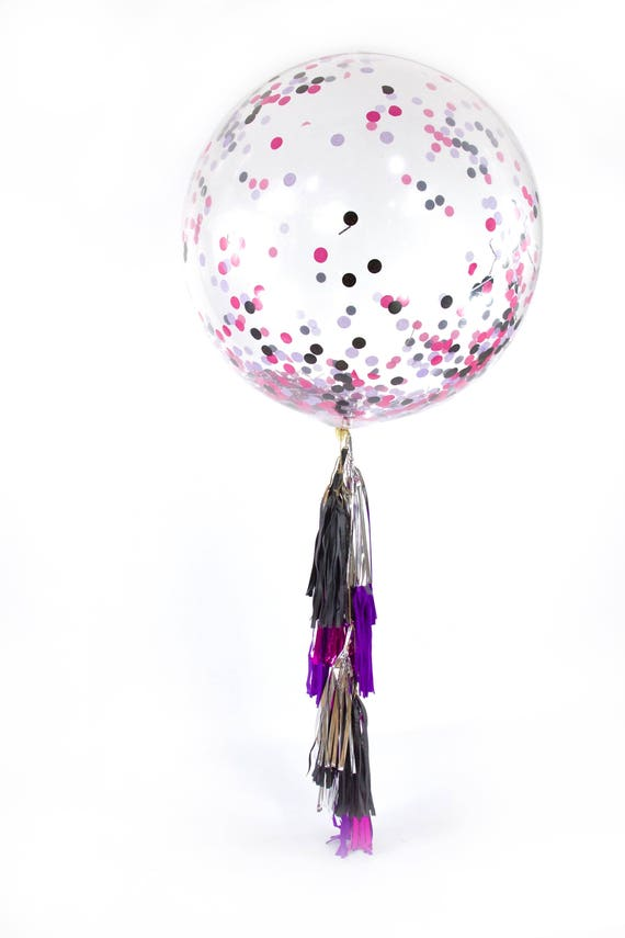 "36"" Bachelorette Bash Balloon, Giant Clear Balloon, Confetti Balloon, Tassel Balloon Girl First Birthday Bachelorette Pink Black Purple"
