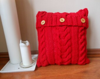 Cable Hand Knit Pillow Cover Pillow Red Pillow Decorative Knit Pillow Handmade Home Decor 16x16