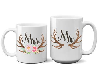 Mr and Mrs, Coffee, Mugs, Cups, Mug Set, Bride, Groom, Wife, Husband, His, Hers, Gift, Wedding, Deer, Couple, Antlers
