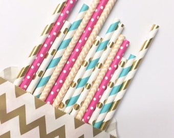 California cocktails straw mix//paper straws, straws, party supplies, decorations, bachelorette party, baby shower, wedding shower,