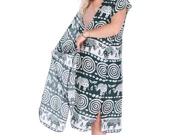Green Boho Kimono, Elephant Top, Womens Kimono Beach Cover Up, Kimono Cardigan, Elephant Top, Kimono, Shrugs, Boho Top, Festival Jacket