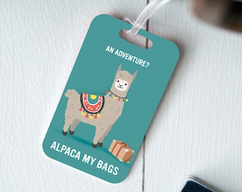 Alpaca Luggage Tag - Cute Llama Gift - Travel Gifts for Sister - Long Distance Gift - Pun - Travel Gifts for Mom - Funny Llama Gift