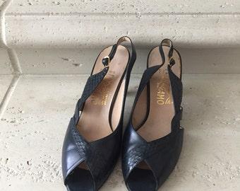 Salvatore Ferragamo ~ Vintage Navy Blue Leather and Snake Skin Peep-Toe Sling Back Heels ~ Size 9 1/2 B