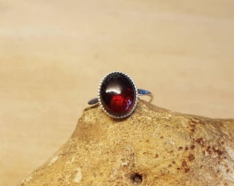 Red Garnet Ring. 925 sterling silver. Reiki jewelry. January birthstone. 10x8mm 2nd anniversary Gemstone. US size, 5 UK size J
