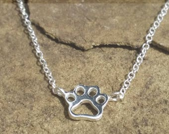 Sterling Silver Cat / Dog Paw Necklace