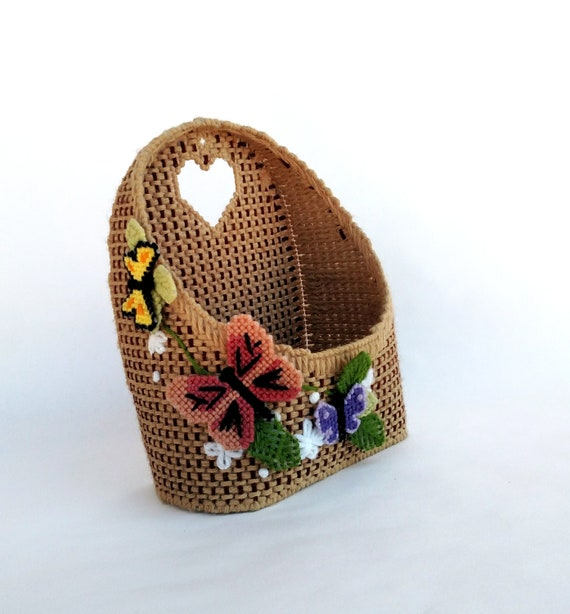 Vintage Kitschy Woven Wall Pocket with Colorful Butterflies