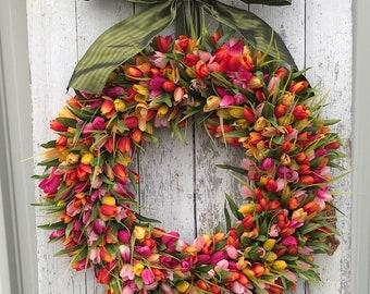 NEW Orange, Fuchsia and Yellow Tulips, Front Door Tulip Wreath, Tulip Wreath for Door, Door Wreath Tulips, Orange Tulips Door Wreaths