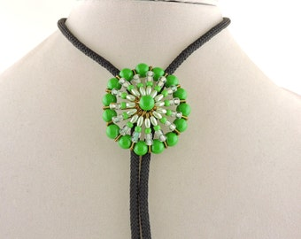 "36"" Black Cordage Bolo Tie With Green Bead Flower Slide"