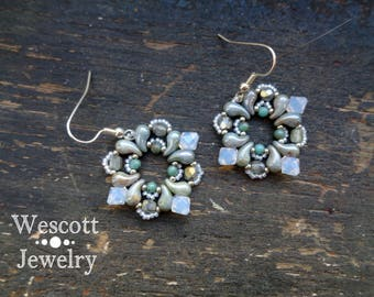 Ice Queen Winter Buta Paisley Earrings with Swarovski Icy Crystals and Silver Seed Beads with Pale Turquoise Pearls and Silver Earrings