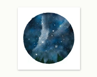 Night sky and Milky way, Watercolor Poster, Art, Print, wall decor, 12 x 12 in