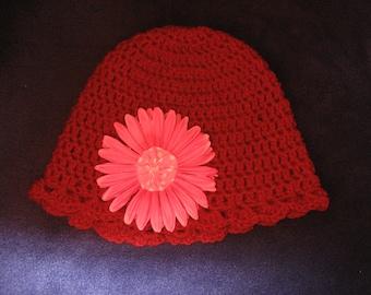 hand crochet red hat with pink flower yo yo center