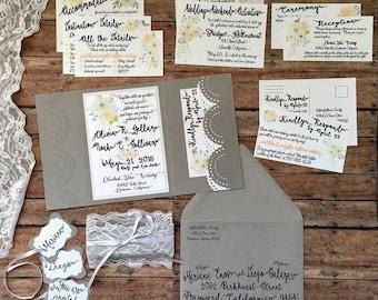 Unique wedding invitation, handmade pocketfold wedding invitation, grey boho invitation with pocket, lace theme wedding, DIY wedding