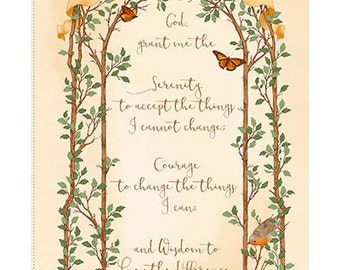 """SERENITY PRAYER Fabric  Panel (24"""") by Quilting Treasures"""