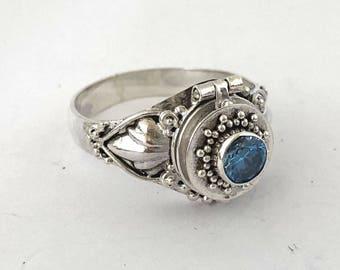Blue Zircon December birthstone Small Poison Ring Bali Sterling Silver Locket Ring  AR79