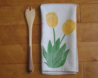 Hand printed linen tea towel, linocut spring tulips, kitchen/bathroom (made to order)