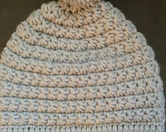 Light Gray Winter Hat with Pom-Pom