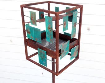 Sculptural Steel & Copper Bird Feeder No. 360 - Freestanding unique modern bird feeder
