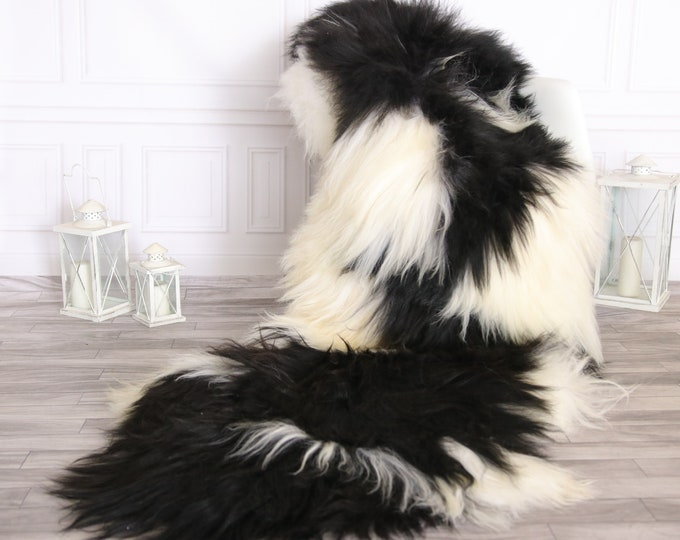 Double Icelandic Sheepskin Rug | Long rug | Shaggy Rug | Chair Cover | Runner Rug | Black Rug | Carpet | Black Sheepskin