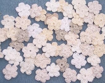 50 handmade thread crochet applique flowers  -- 2672