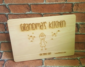 Grandma's Kitchen Wooden Cutting Board, Nanny's Kitchen, Nana's Kitchen, Personalised Chopping Board, Christmas gift, Christmas gift for her