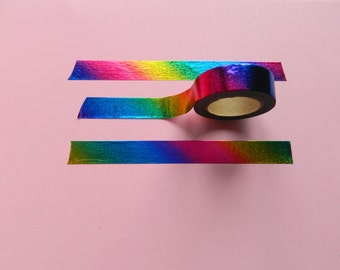 Rainbow Foil Washi Tape, Holographic Washi, Metallic Washi Tape,  Planner Tape, Deco Tape, Masking Tape