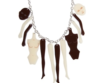 Doll Parts necklace - laser cut acrylic