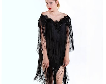 Mini black dress with dual set of fringes
