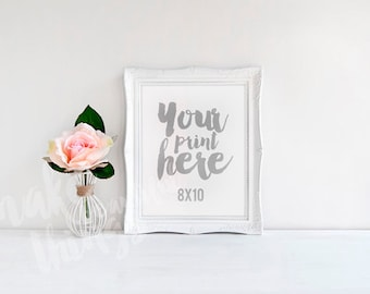 8x10 white frame / Styled stock photography / Instant download /