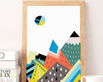 Scandinavian Print KIDS,Mountain Print, Mountains, Scandinavian Art, Mountains Poster, Downloadable Prints, Printable Art, Minimalist Poster