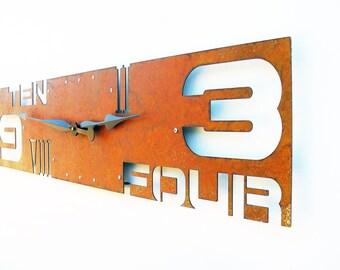 Outnumbered IV, Extra Large Wall Clock, Rustic, Roman Numerals, Huge, Mechanism, Family Room, Big Art, Rectangular, Natural, Metal Decor