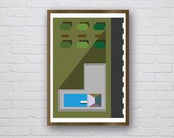 Apartment Block at Sunset - original giclee art print