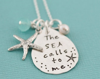 The Sea Calls To Me Necklace, Beachy Necklace, Beach Living, Starfish Jewelry, Beach Vacation Jewelry Cruise Beachwear Necklace