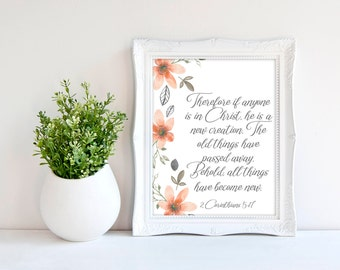 2 Corinthians 5:17 - Baptism Gift from Godmother - Christian Wall Art - Bible Verse Print - Scripture Printable - New Creation - For Mom