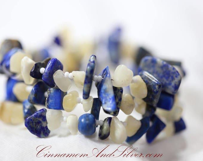 Blue Denim Lapis Lazuli and Yellow Aragonite Gemstone Chips Adjustable Memory Wire Bangle Bracelet, Blue and Yellow Coil Wrap Bead Bracelet