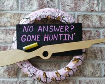 Pink Hunting Camo Rifle Handmade Wreath